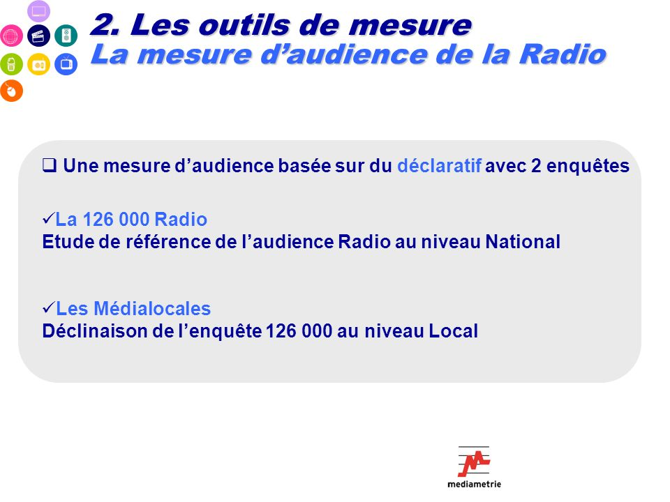 Une mesure daudience basée sur du déclaratif avec 2 enquêtes La 126 000 Radio Etude de référence de laudience Radio au niveau National Les Médialocale