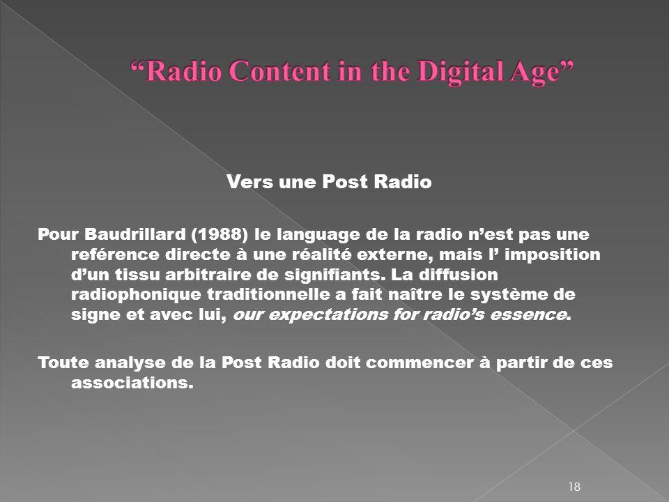 Vers une Post Radio Pour Baudrillard (1988) le language de la radio nest pas une reférence directe à une réalité externe, mais l imposition dun tissu arbitraire de signifiants.