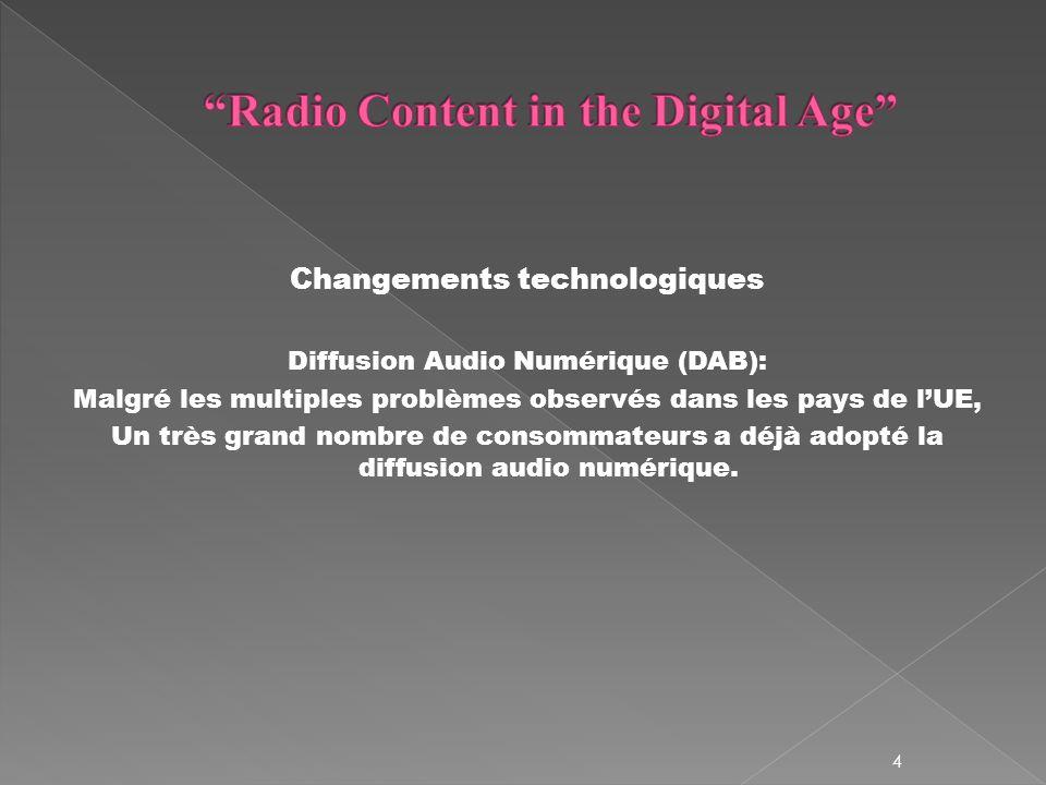 Changements technologiques Diffusion Audio Numérique (DAB): Malgré les multiples problèmes observés dans les pays de lUE, Un très grand nombre de consommateurs a déjà adopté la diffusion audio numérique.