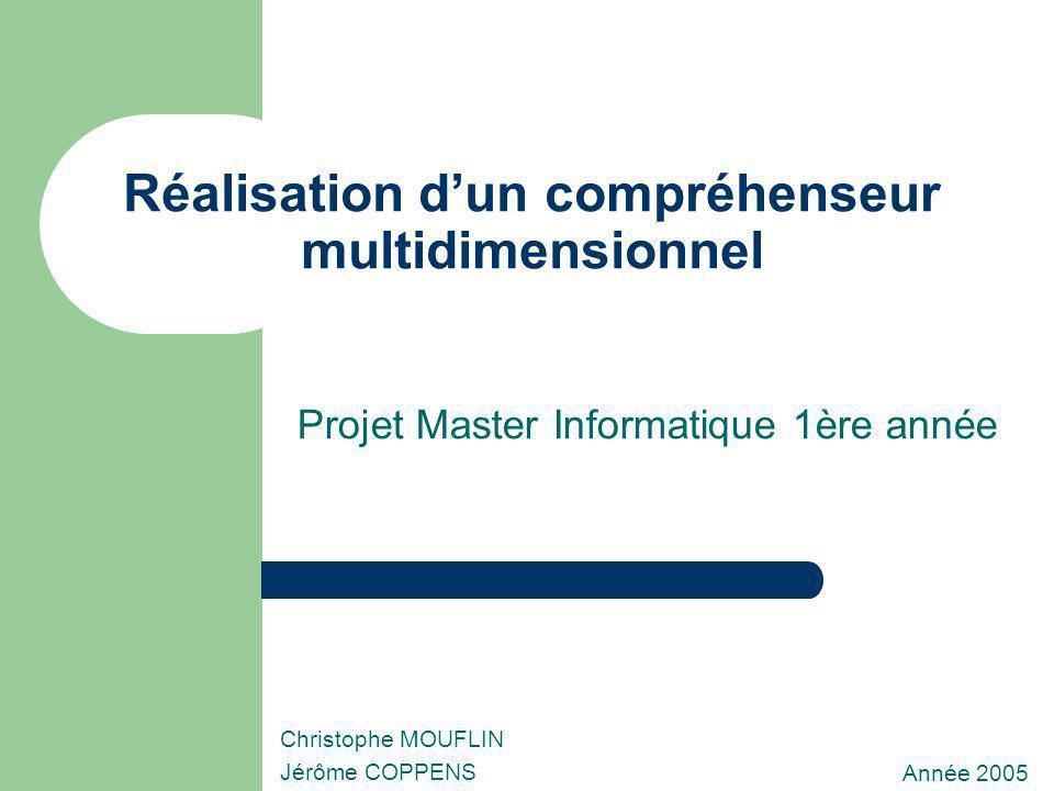 Réalisation dun compréhenseur multidimensionnel Projet Master Informatique 1ère année Année 2005 Christophe MOUFLIN Jérôme COPPENS