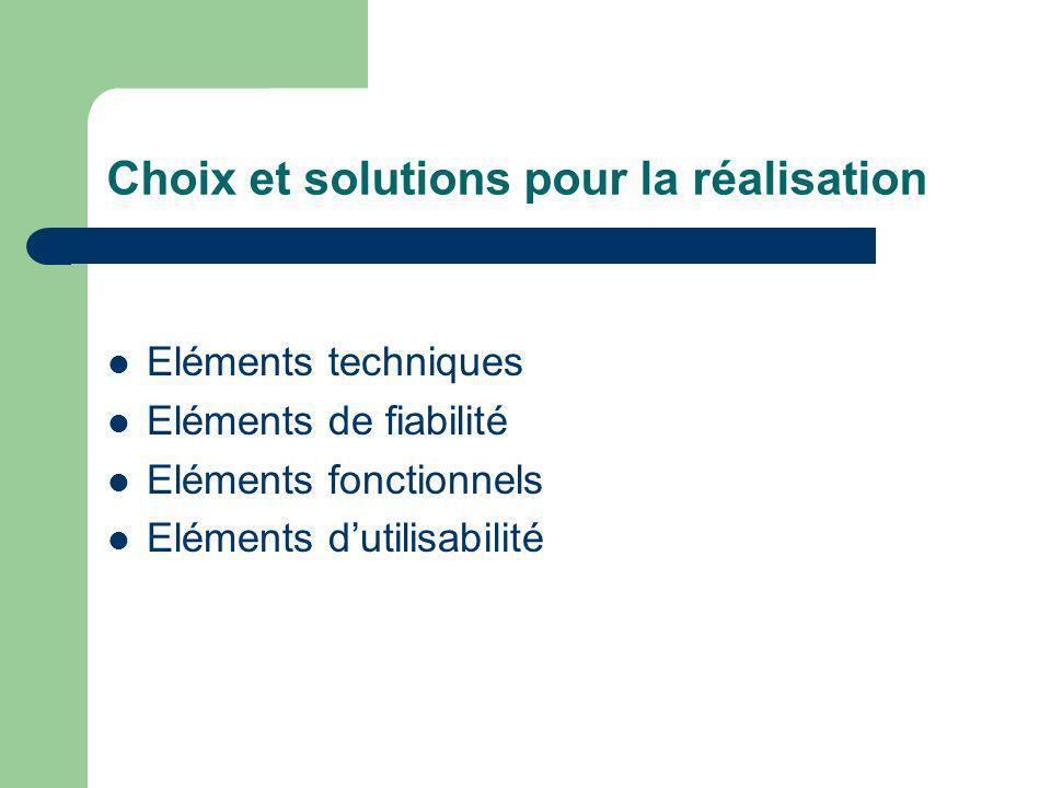 Choix et solutions pour la réalisation Eléments techniques Eléments de fiabilité Eléments fonctionnels Eléments dutilisabilité