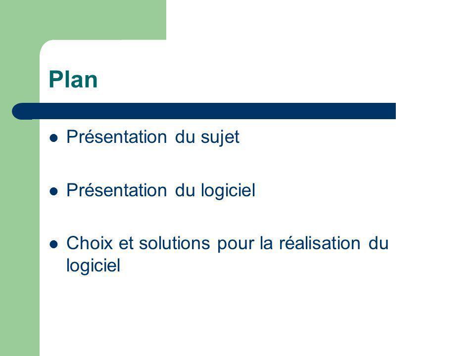 Plan Présentation du sujet Présentation du logiciel Choix et solutions pour la réalisation du logiciel