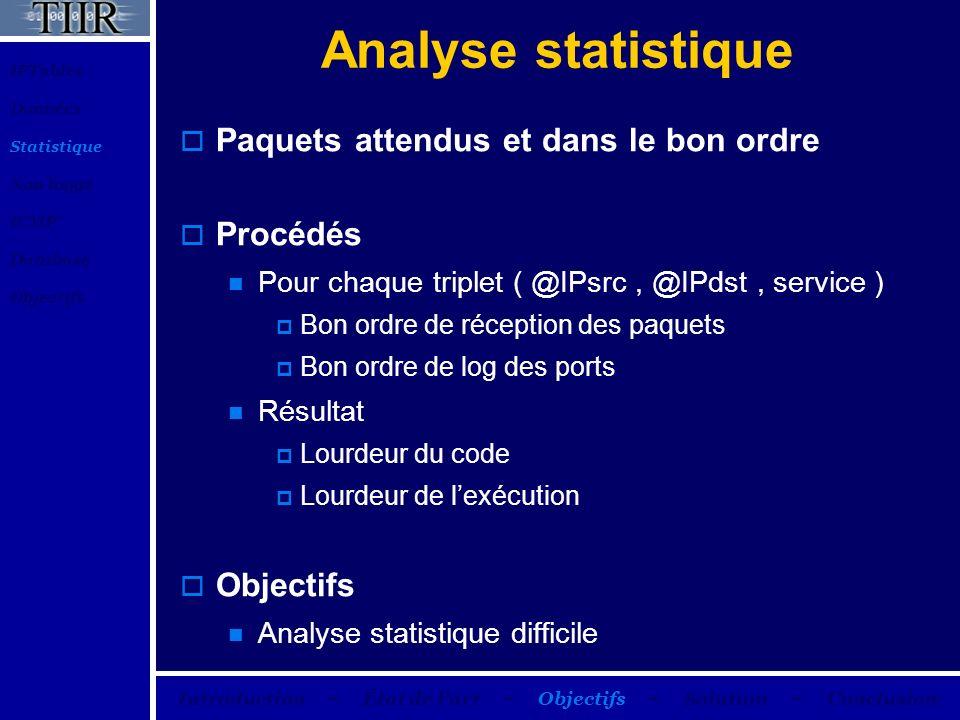 Analyse statistique Paquets attendus et dans le bon ordre Procédés Pour chaque triplet ( @IPsrc, @IPdst, service ) Bon ordre de réception des paquets