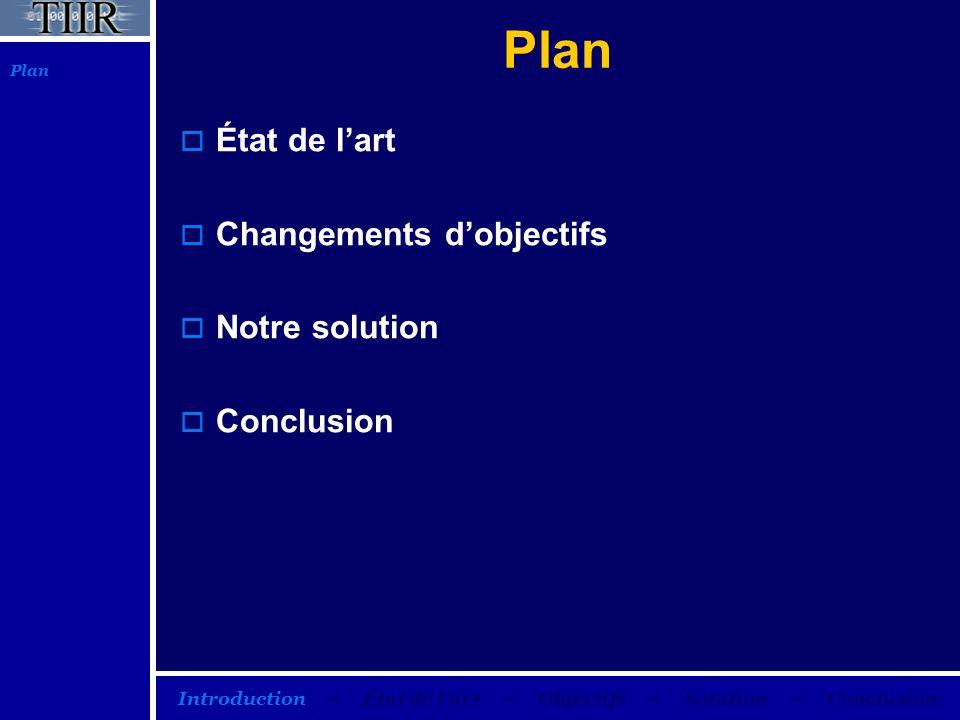 Plan État de lart Changements dobjectifs Notre solution Conclusion Plan Introduction – État de lart – Objectifs – Solution – Conclusion