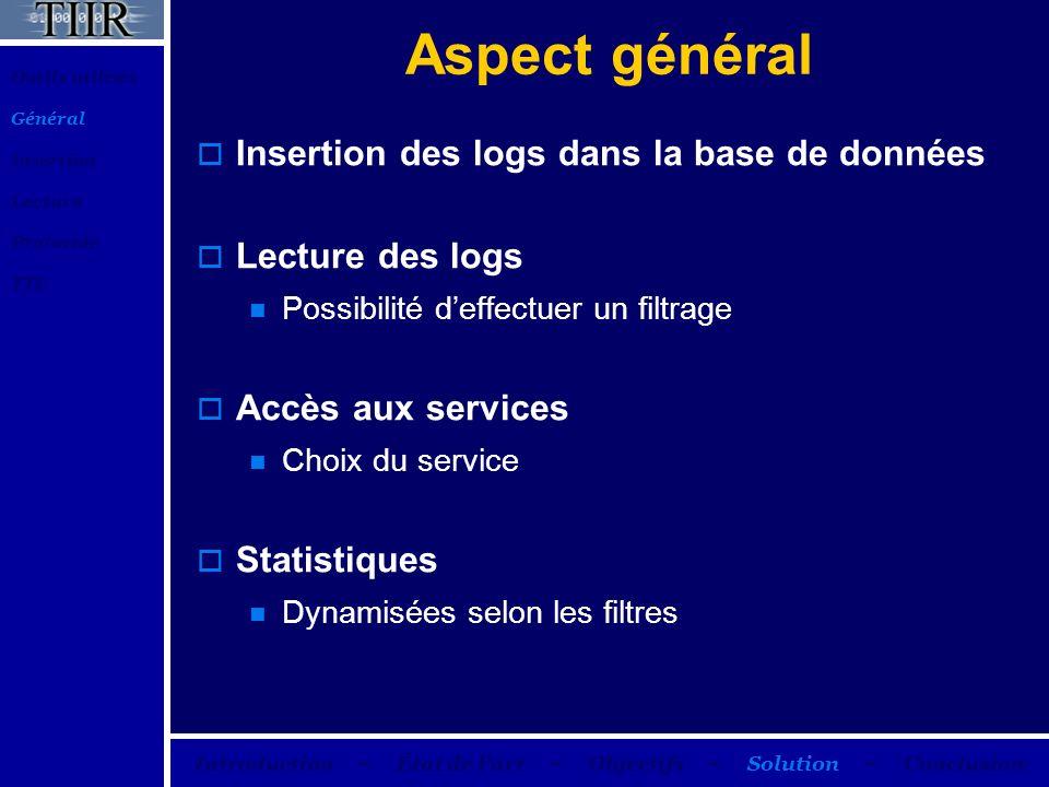 Aspect général Insertion des logs dans la base de données Lecture des logs Possibilité deffectuer un filtrage Accès aux services Choix du service Stat