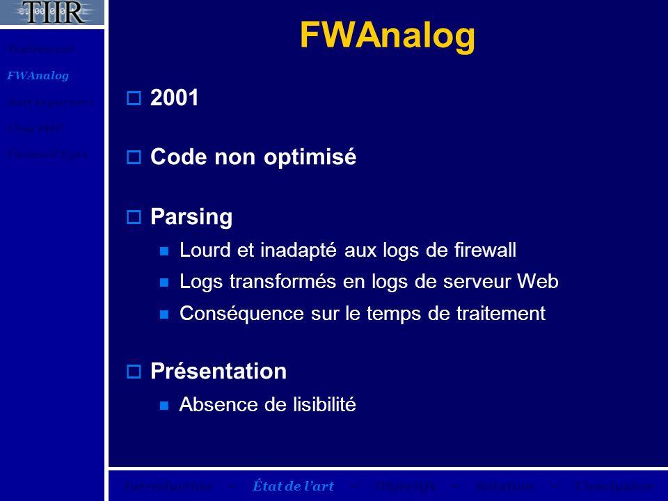 FWAnalog 2001 Code non optimisé Parsing Lourd et inadapté aux logs de firewall Logs transformés en logs de serveur Web Conséquence sur le temps de tra