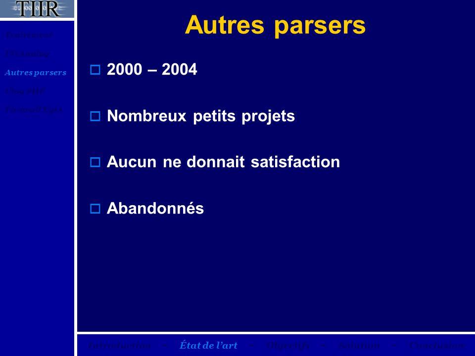 Autres parsers 2000 – 2004 Nombreux petits projets Aucun ne donnait satisfaction Abandonnés Traitement FWAnalog Autres parsers Ulog PHP Firewall Eyes