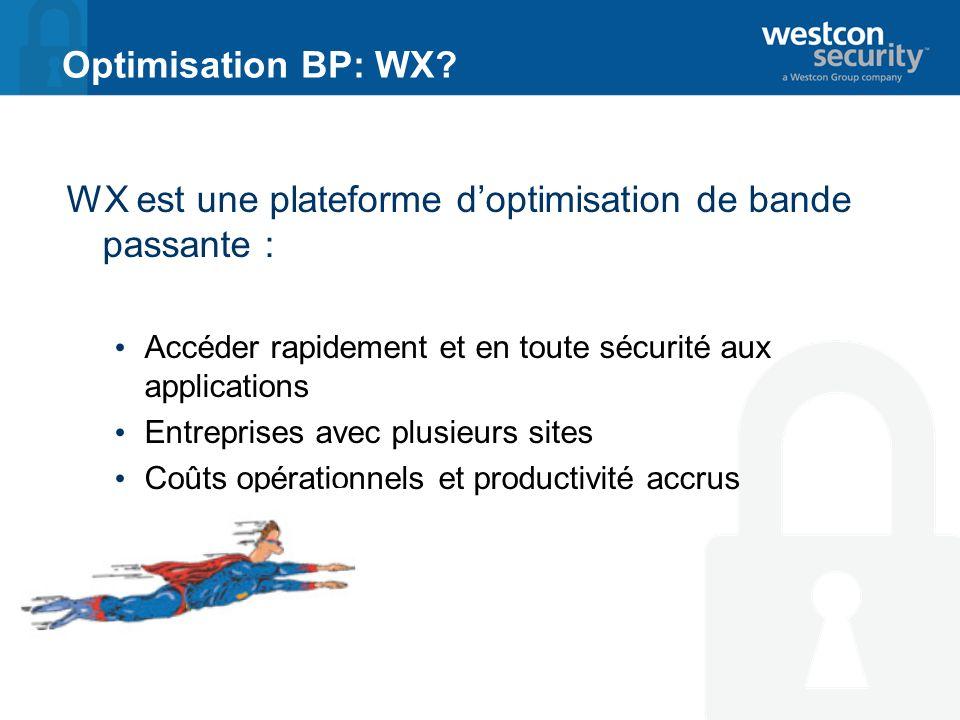 Optimisation BP: WX? WX est une plateforme doptimisation de bande passante : Accéder rapidement et en toute sécurité aux applications Entreprises avec