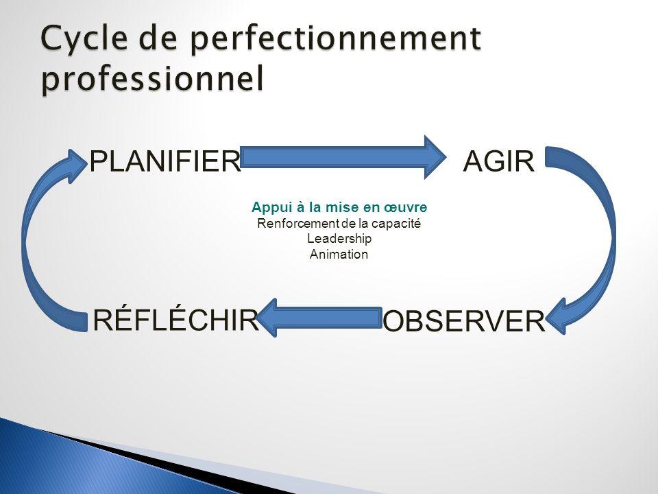 PLANIFIER AGIR OBSERVER RÉFLÉCHIR Appui à la mise en œuvre Renforcement de la capacité Leadership Animation