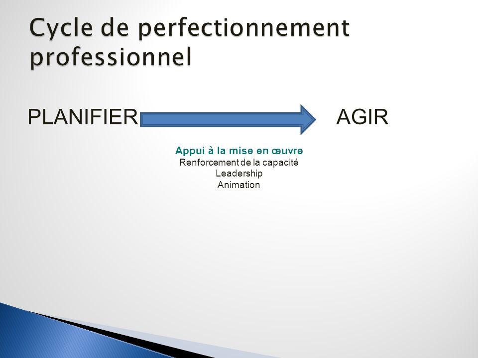 PLANIFIER AGIR Appui à la mise en œuvre Renforcement de la capacité Leadership Animation