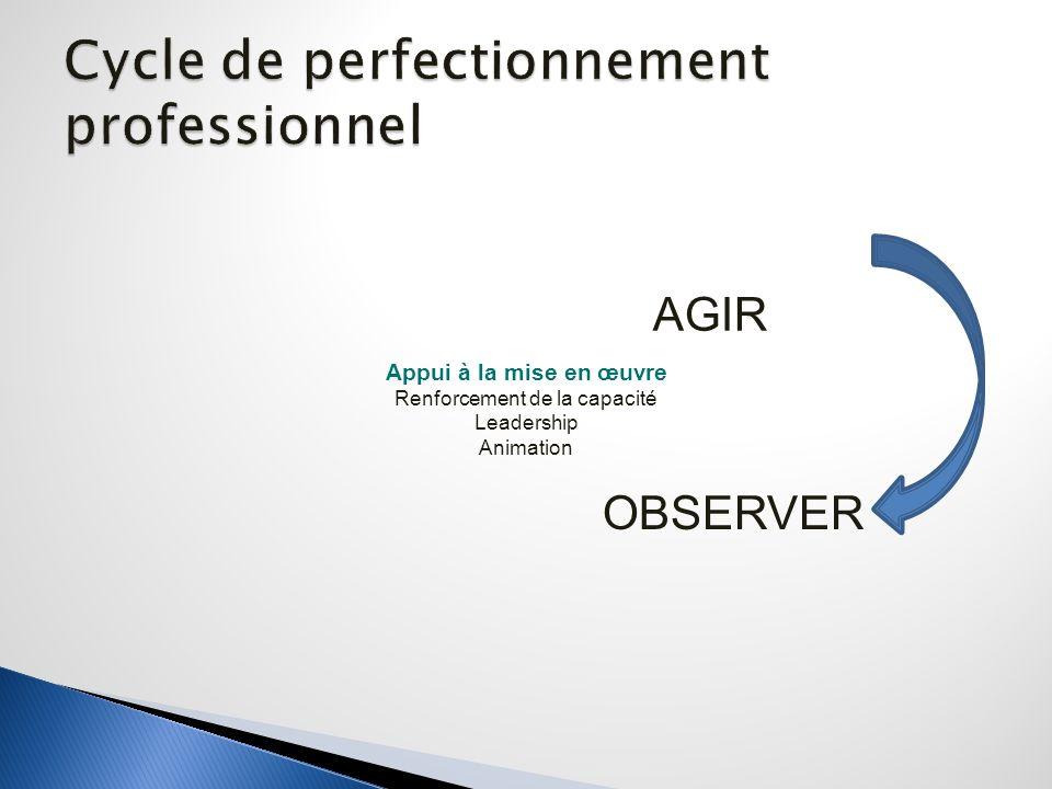 AGIR OBSERVER Appui à la mise en œuvre Renforcement de la capacité Leadership Animation