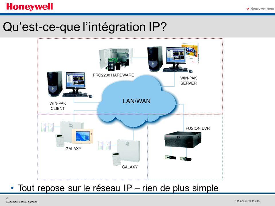 Honeywell Proprietary Honeywell.com 2 Document control number Quest-ce-que lintégration IP? Tout repose sur le réseau IP – rien de plus simple