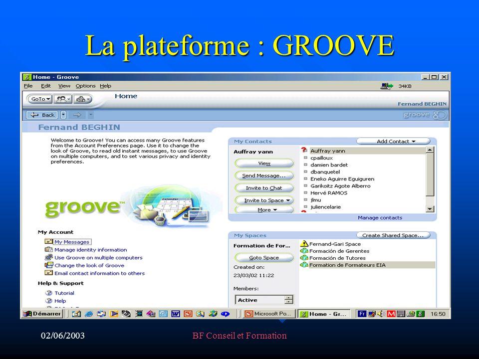 02/06/2003BF Conseil et Formation La plateforme : GROOVE