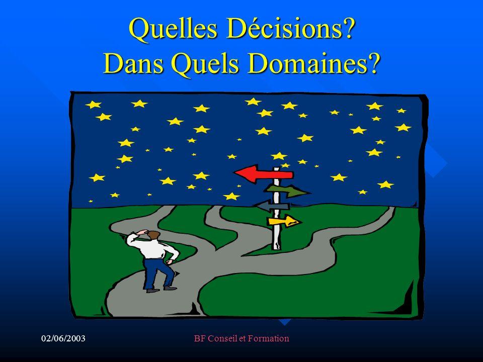 02/06/2003BF Conseil et Formation Quelles Décisions Dans Quels Domaines