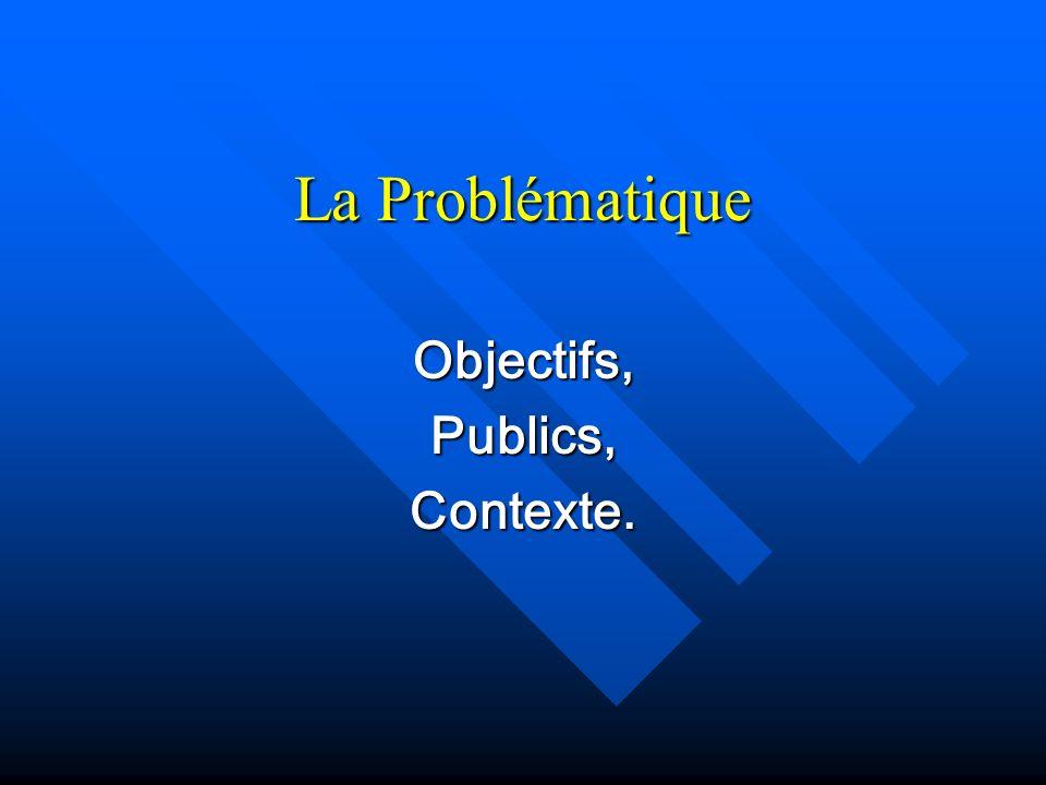 La Problématique Objectifs,Publics,Contexte.