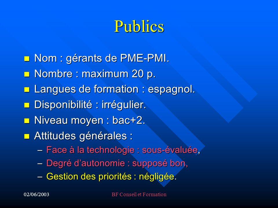 02/06/2003BF Conseil et Formation Publics Nom : gérants de PME-PMI.