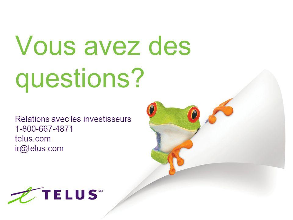 18 Vous avez des questions? Relations avec les investisseurs 1-800-667-4871 telus.com ir@telus.com