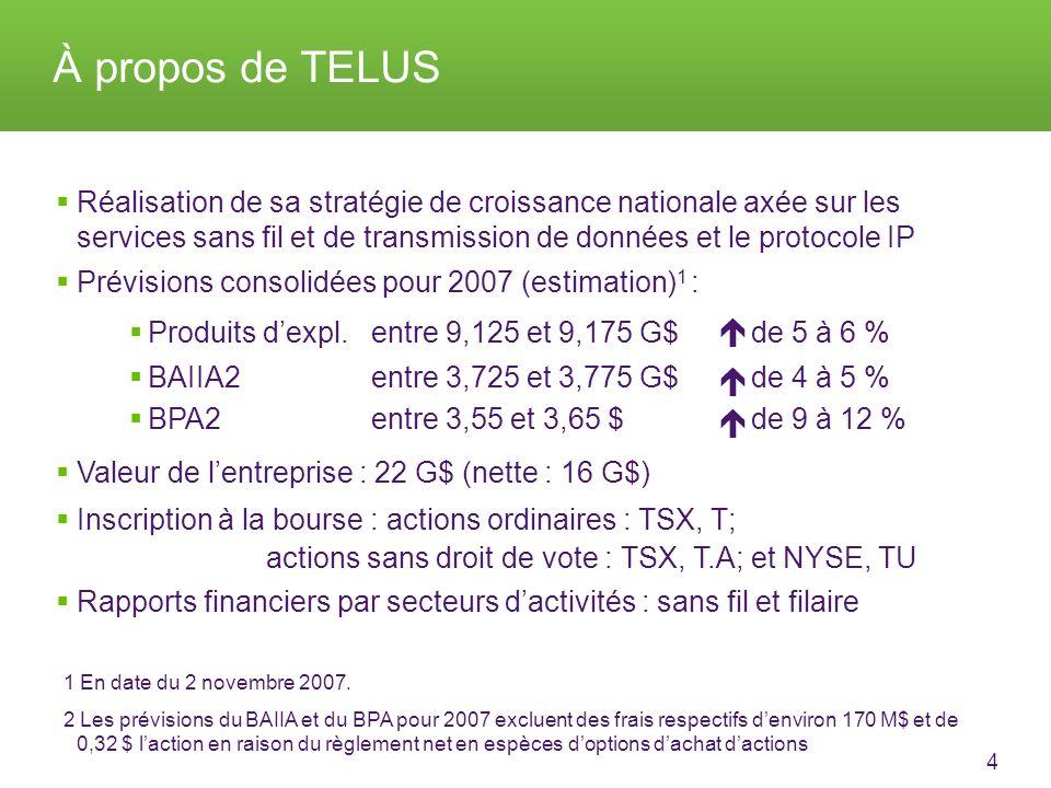 4 About TELUS Réalisation de sa stratégie de croissance nationale axée sur les services sans fil et de transmission de données et le protocole IP Prévisions consolidées pour 2007 (estimation) 1 : Produits dexpl.