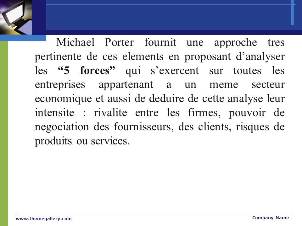 www.themegallery.com Company Name Michael Porter fournit une approche tres pertinente de ces elements en proposant danalyser les 5 forces qui sexercen