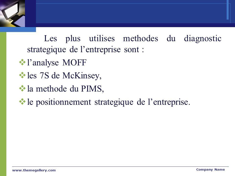 www.themegallery.com Company Name Les plus utilises methodes du diagnostic strategique de lentreprise sont : lanalyse MOFF les 7S de McKinsey, la meth