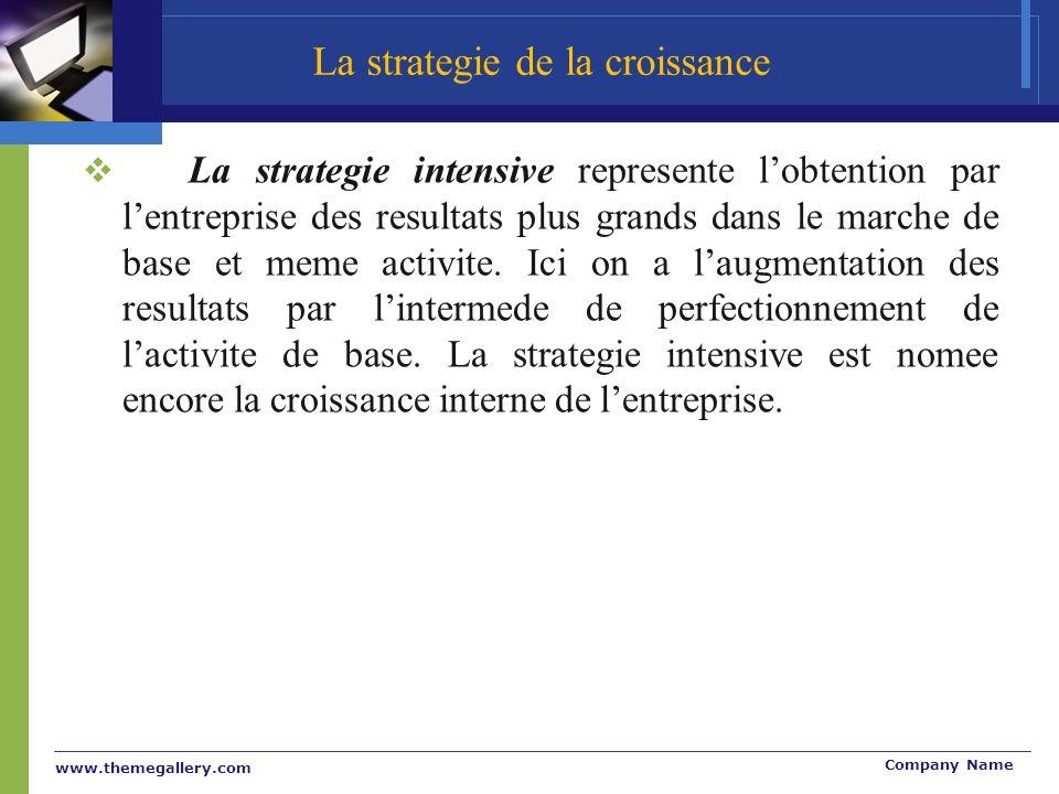 www.themegallery.com Company Name La strategie intensive represente lobtention par lentreprise des resultats plus grands dans le marche de base et meme activite.