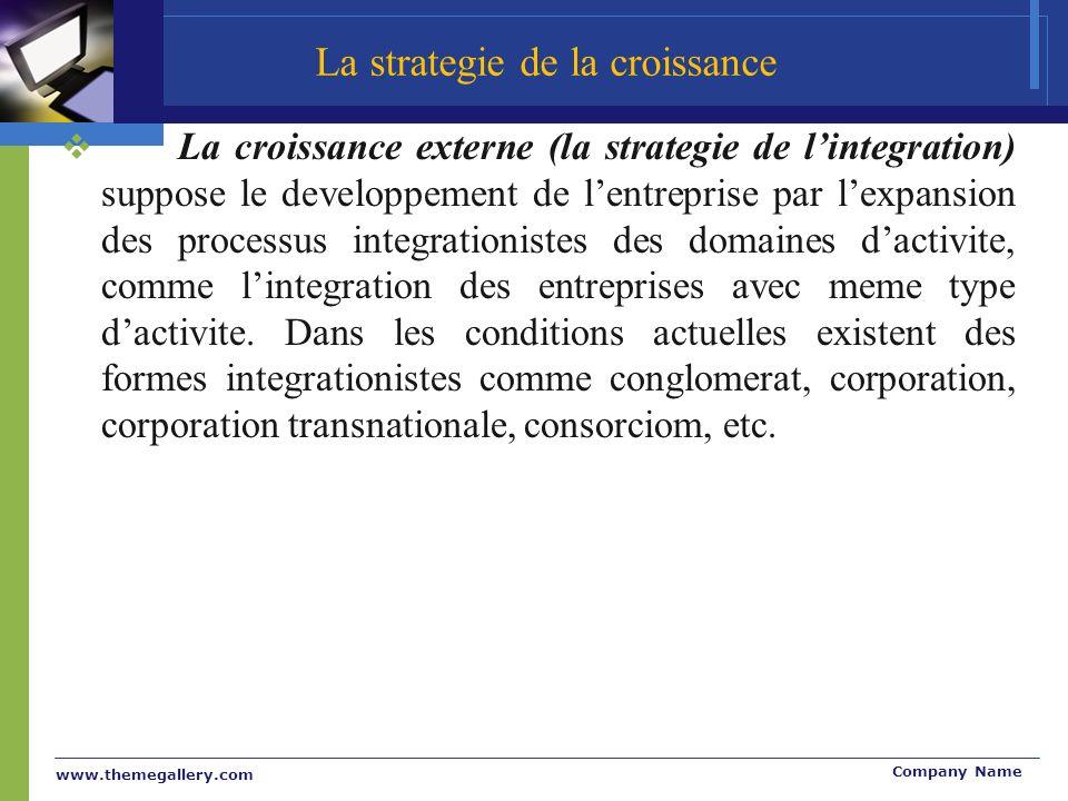 www.themegallery.com Company Name La croissance externe (la strategie de lintegration) suppose le developpement de lentreprise par lexpansion des processus integrationistes des domaines dactivite, comme lintegration des entreprises avec meme type dactivite.