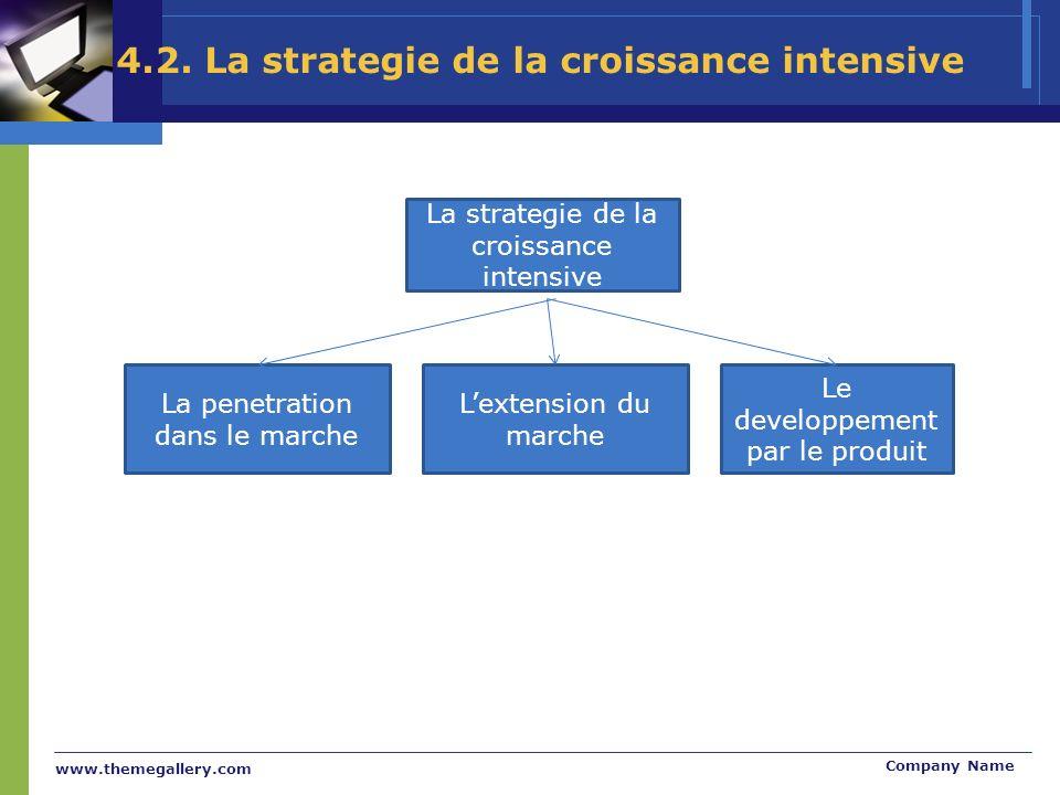 www.themegallery.com Company Name La strategie de la croissance intensive La penetration dans le marche Lextension du marche Le developpement par le produit 4.2.