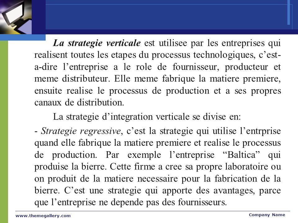 www.themegallery.com Company Name La strategie verticale est utilisee par les entreprises qui realisent toutes les etapes du processus technologiques, cest- a-dire lentreprise a le role de fournisseur, producteur et meme distributeur.
