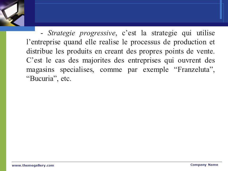 www.themegallery.com Company Name - Strategie progressive, cest la strategie qui utilise lentreprise quand elle realise le processus de production et distribue les produits en creant des propres points de vente.