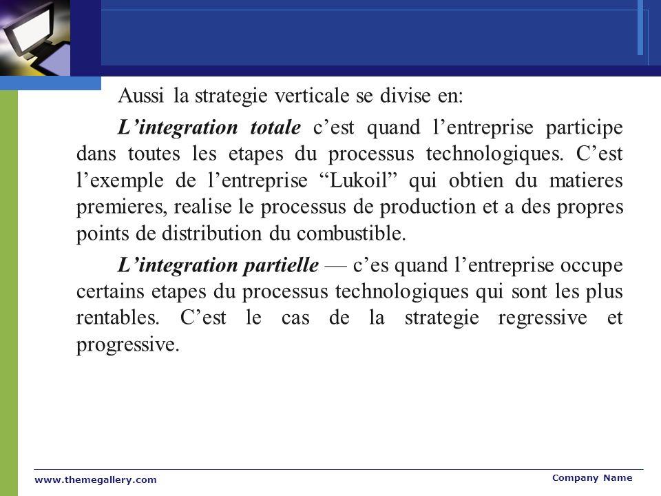 www.themegallery.com Company Name Aussi la strategie verticale se divise en: Lintegration totale cest quand lentreprise participe dans toutes les etapes du processus technologiques.