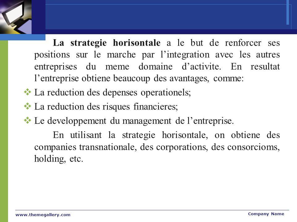 www.themegallery.com Company Name La strategie horisontale a le but de renforcer ses positions sur le marche par lintegration avec les autres entreprises du meme domaine dactivite.
