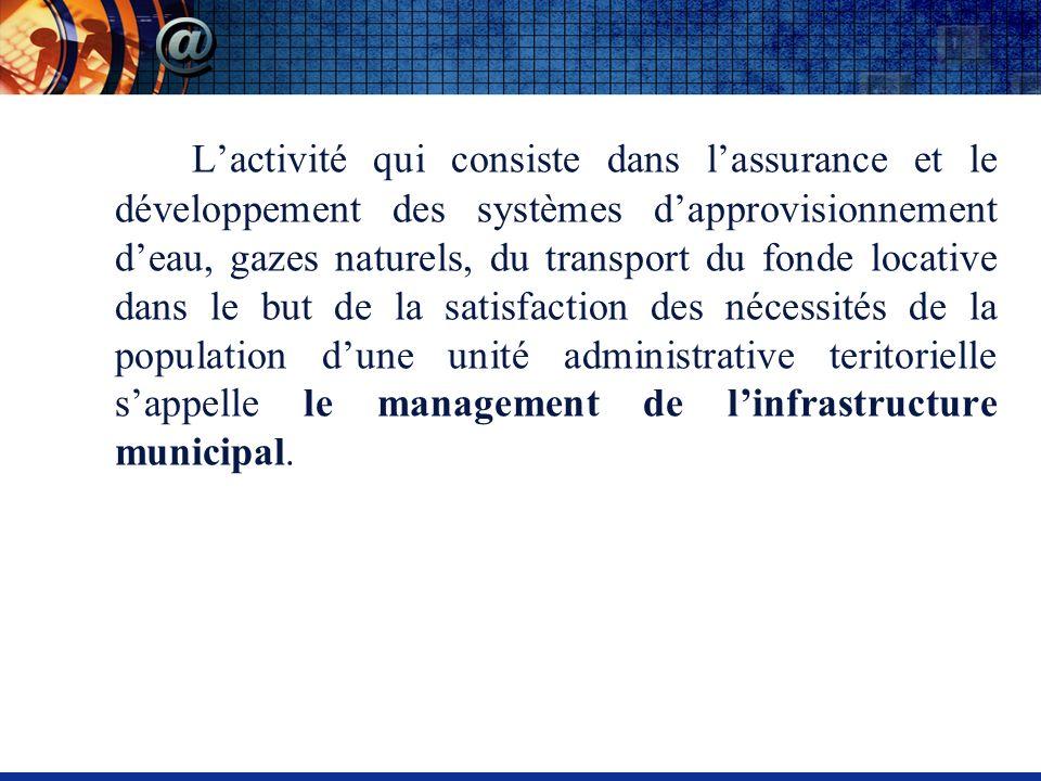 Lactivité qui consiste dans lassurance et le développement des systèmes dapprovisionnement deau, gazes naturels, du transport du fonde locative dans l