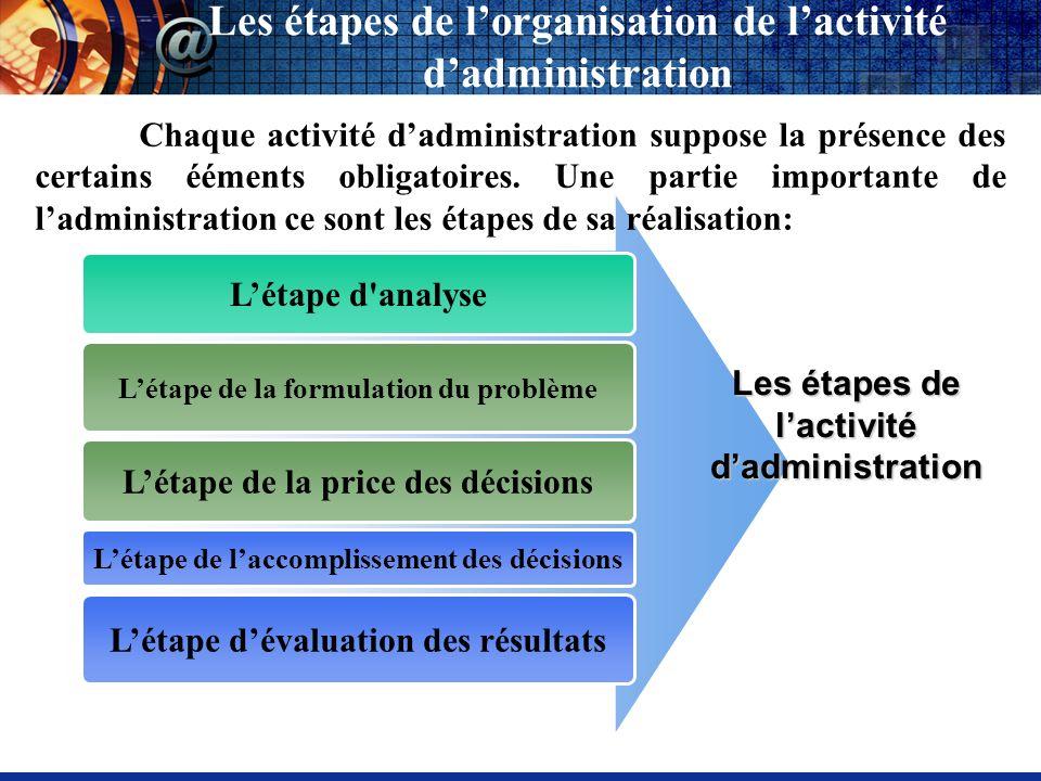 Les étapes de lorganisation de lactivité dadministration Létape de la formulation du problème Létape de laccomplissement des décisions Les étapes de l