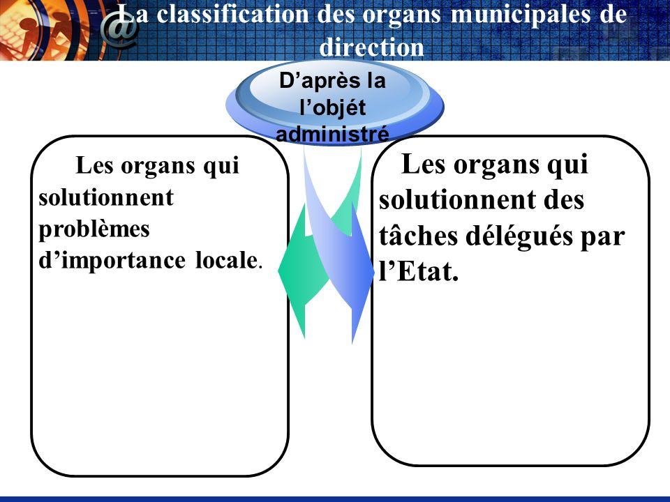 Les organs qui solutionnent problèmes dimportance locale. Daprès la lobjét administré Les organs qui solutionnent des tâches délégués par lEtat. La cl