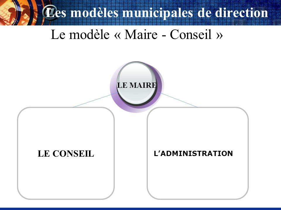 LADMINISTRATION LE MAIRE Les modèles municipales de direction Le modèle «Conseil - Maire » LE CONSEIL