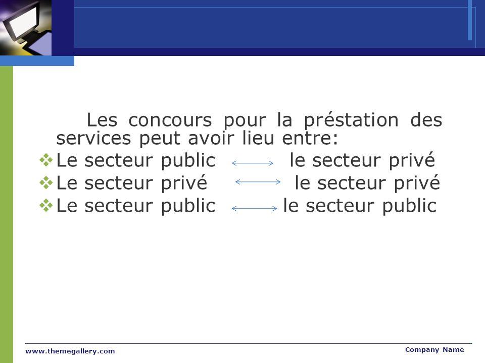 www.themegallery.com Company Name Les concours pour la préstation des services peut avoir lieu entre: Le secteur public le secteur privé Le secteur privé le secteur privé Le secteur public le secteur public