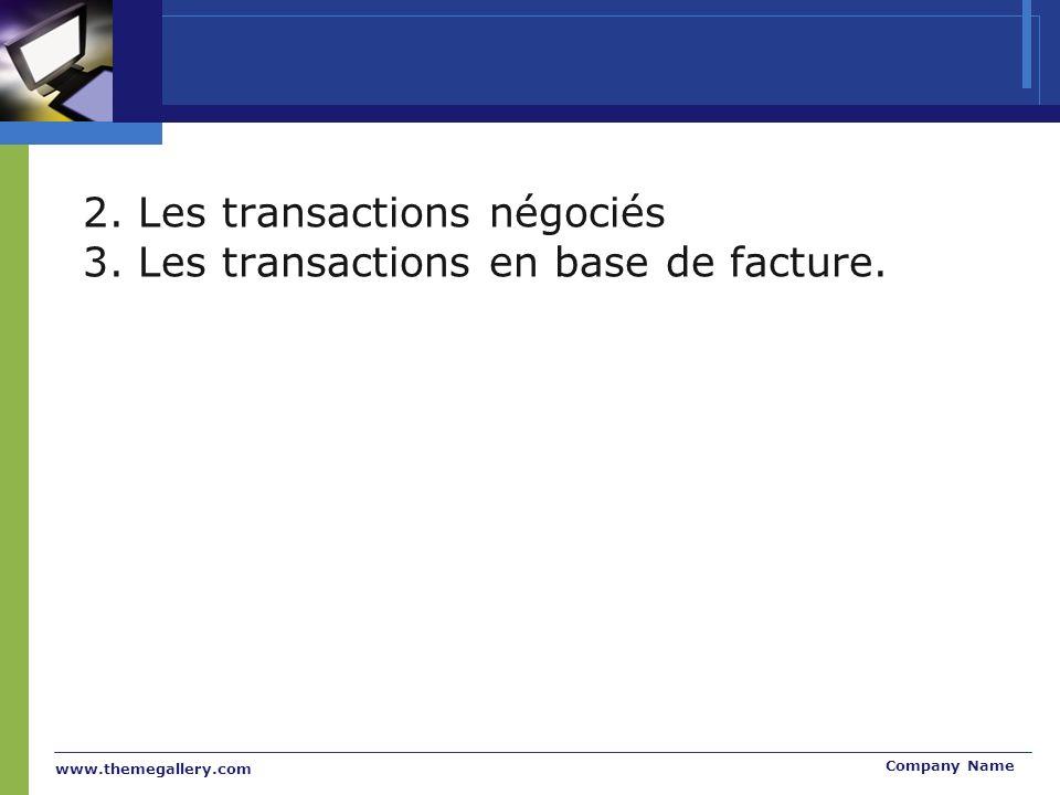 www.themegallery.com Company Name 2. Les transactions négociés 3.