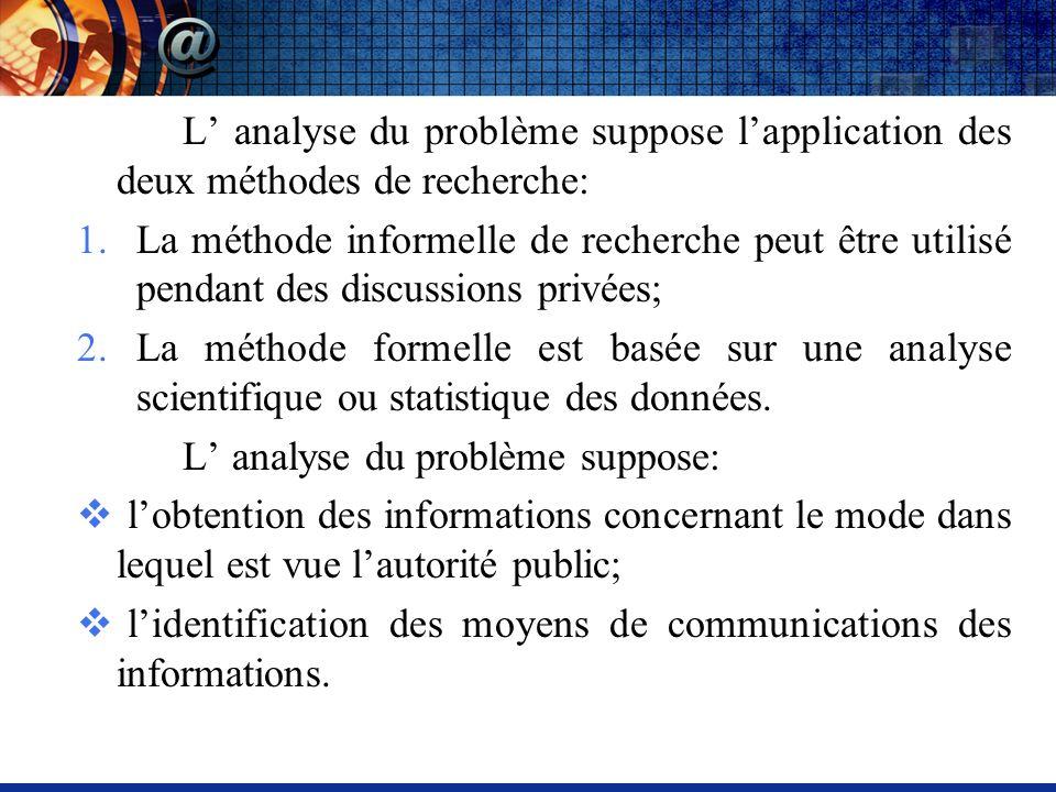 L analyse du problème suppose lapplication des deux méthodes de recherche: 1.La méthode informelle de recherche peut être utilisé pendant des discussions privées; 2.La méthode formelle est basée sur une analyse scientifique ou statistique des données.