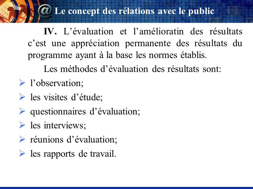 IV. Lévaluation et lamélioratin des résultats cest une appréciation permanente des résultats du programme ayant à la base les normes établis. Les méth
