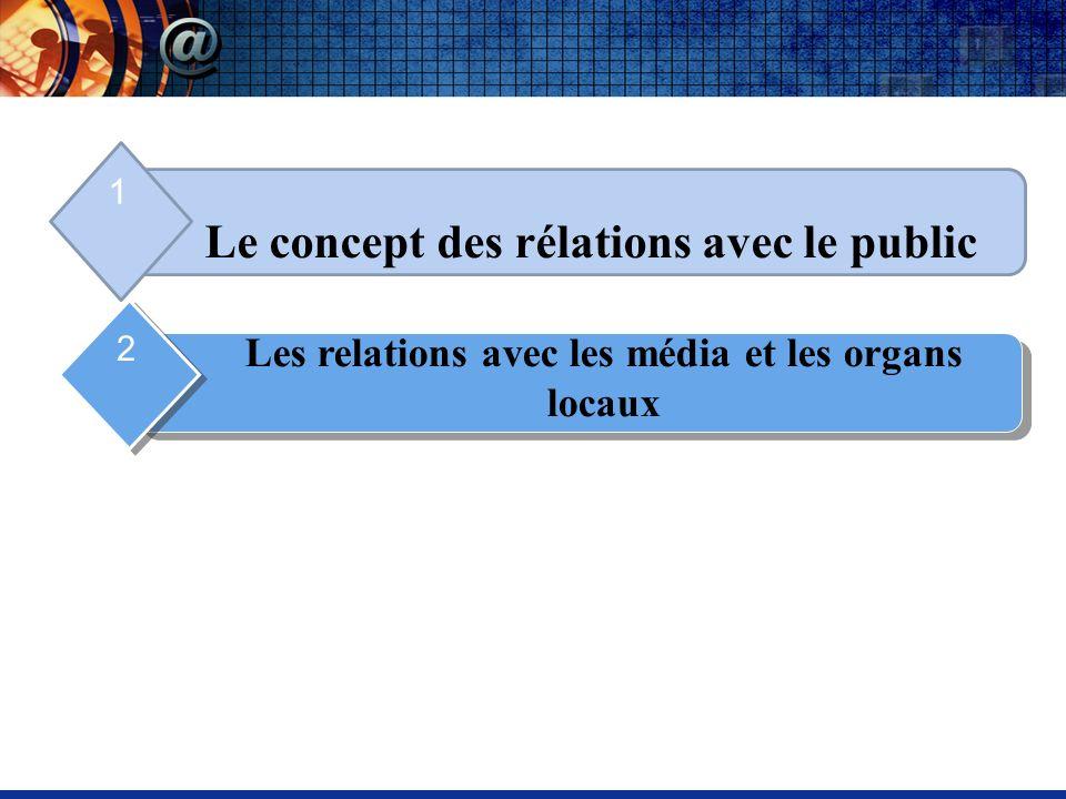 Le concept des rélations avec le public 1 Les relations avec les média et les organs locaux 2