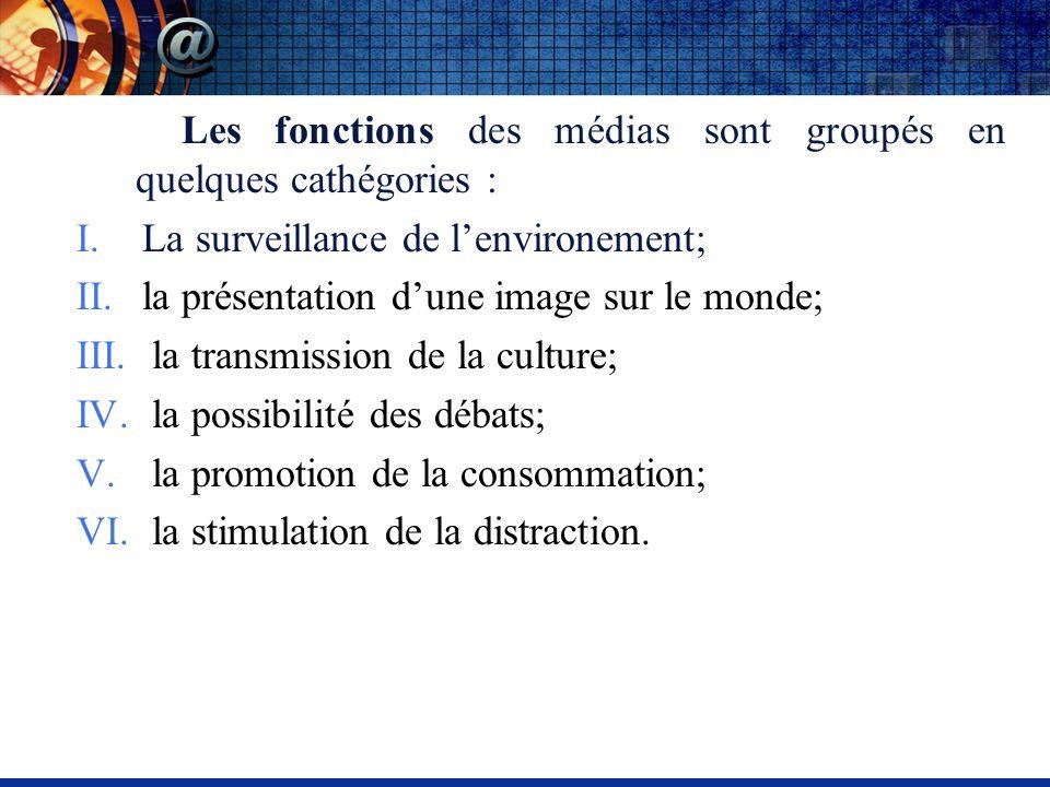 Les fonctions des médias sont groupés en quelques cathégories : I.La surveillance de lenvironement; II.la présentation dune image sur le monde; III.