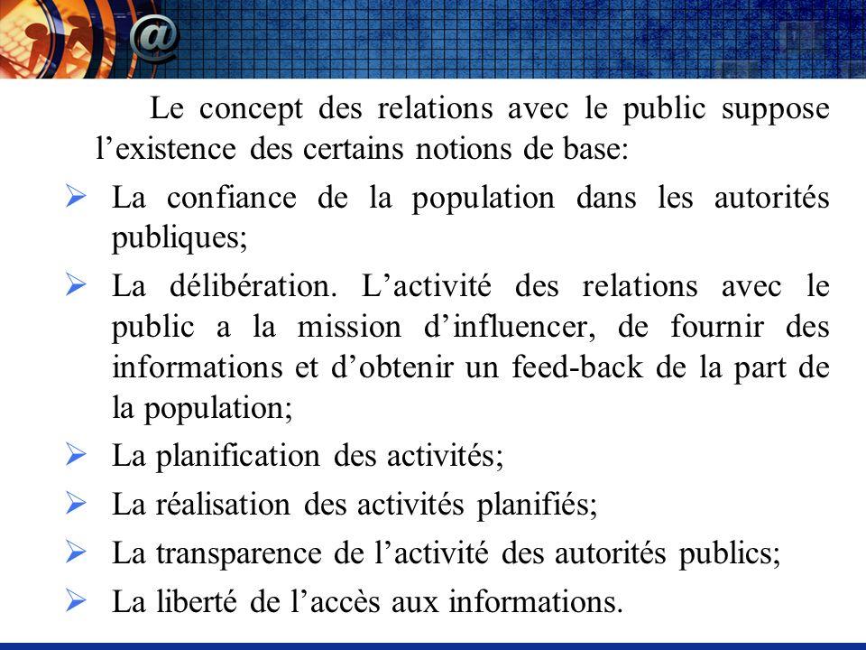 Le concept des relations avec le public suppose lexistence des certains notions de base: La confiance de la population dans les autorités publiques; La délibération.