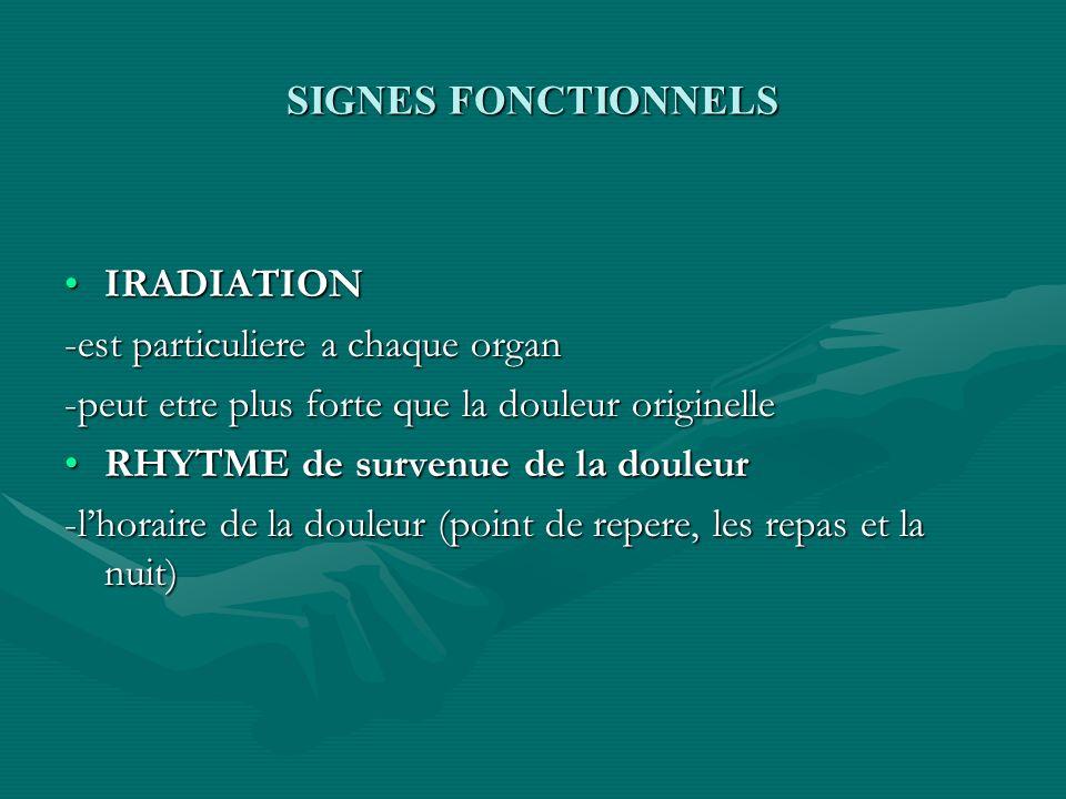 SIGNES FONCTIONNELS IRADIATIONIRADIATION -est particuliere a chaque organ -peut etre plus forte que la douleur originelle RHYTME de survenue de la dou