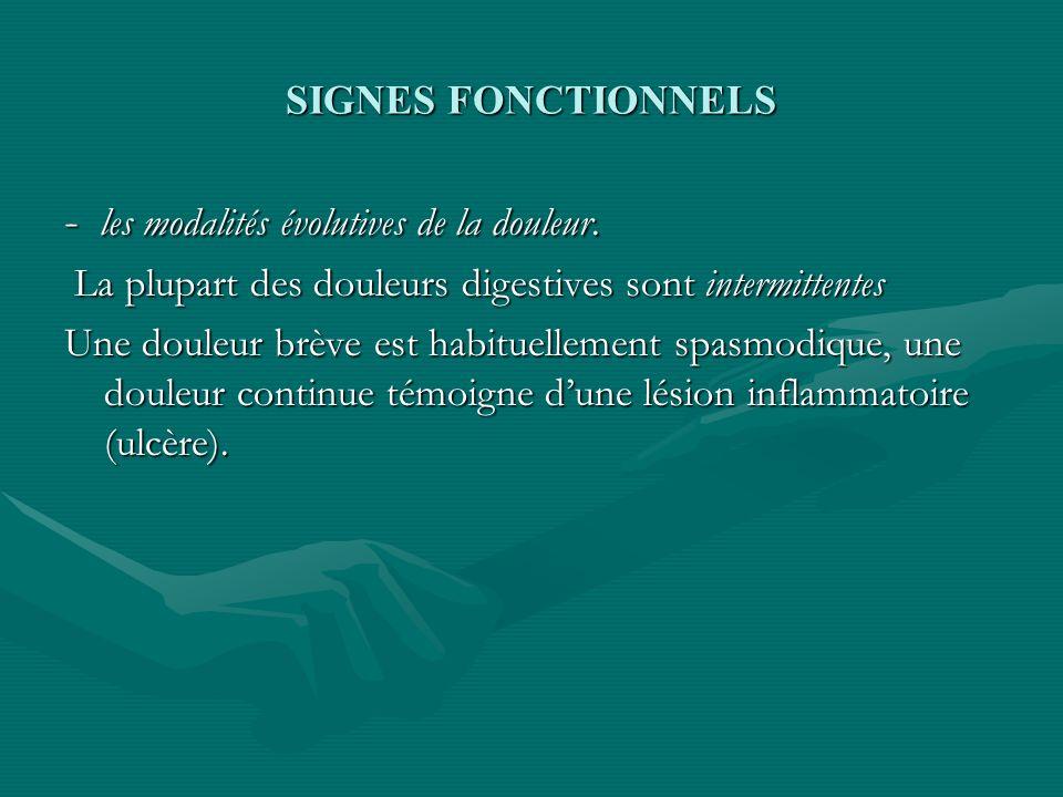 SIGNES FONCTIONNELS - les modalités évolutives de la douleur. La plupart des douleurs digestives sont intermittentes La plupart des douleurs digestive