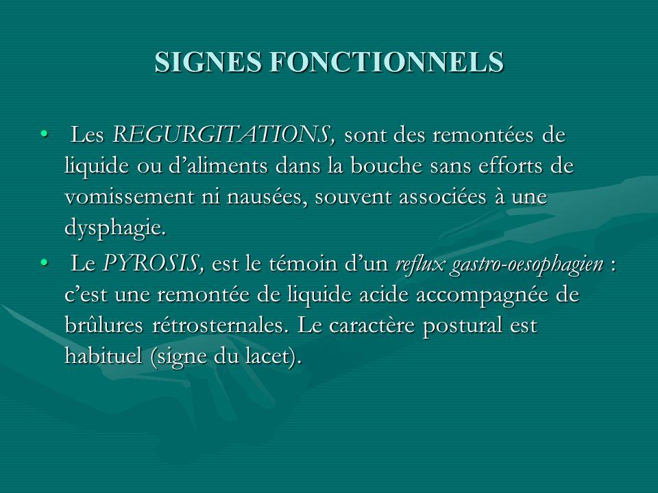 SIGNES FONCTIONNELS Les REGURGITATIONS, sont des remontées de liquide ou daliments dans la bouche sans efforts de vomissement ni nausées, souvent asso