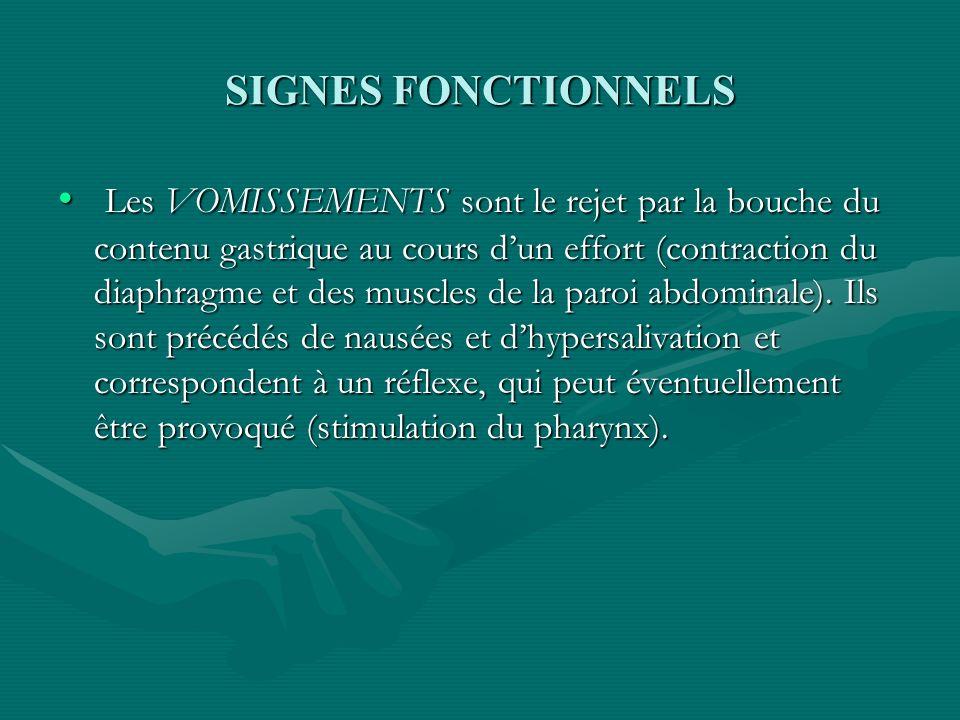 SIGNES FONCTIONNELS Les VOMISSEMENTS sont le rejet par la bouche du contenu gastrique au cours dun effort (contraction du diaphragme et des muscles de