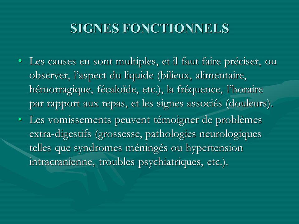 SIGNES FONCTIONNELS Les causes en sont multiples, et il faut faire préciser, ou observer, laspect du liquide (bilieux, alimentaire, hémorragique, féca