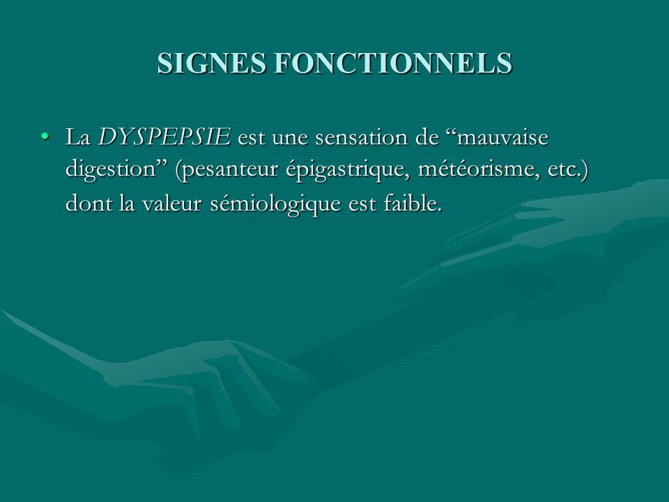 SIGNES FONCTIONNELS La DYSPEPSIE est une sensation de mauvaise digestion (pesanteur épigastrique, météorisme, etc.) dont la valeur sémiologique est fa