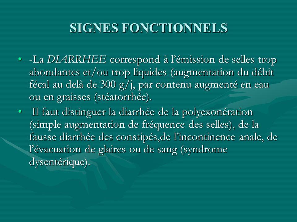 SIGNES FONCTIONNELS -La DIARRHEE correspond à lémission de selles trop abondantes et/ou trop liquides (augmentation du débit fécal au delà de 300 g/j,