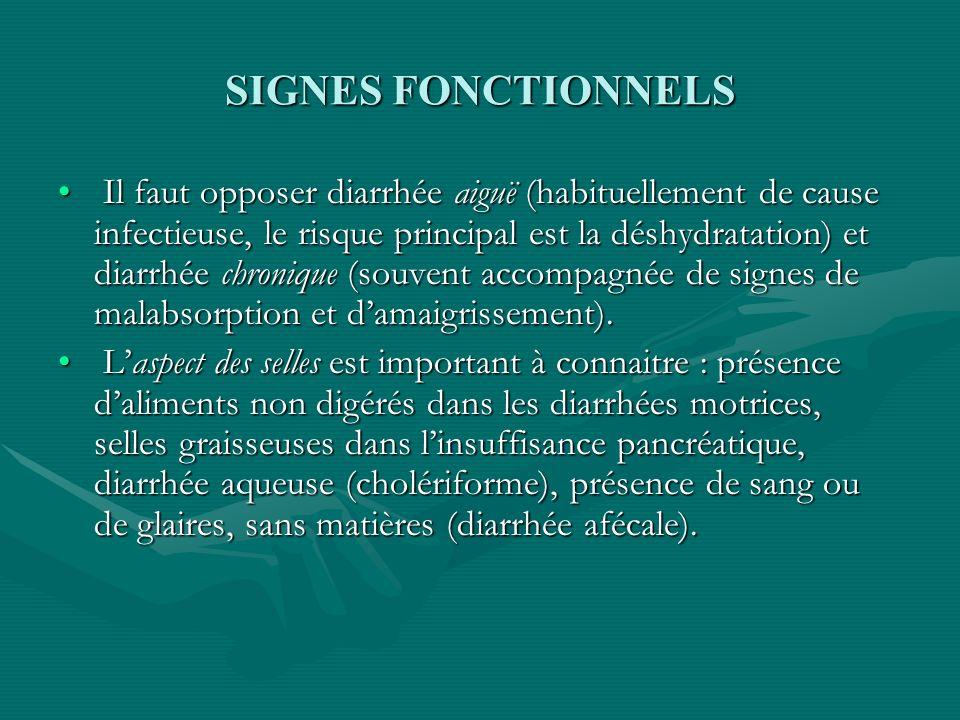 SIGNES FONCTIONNELS Il faut opposer diarrhée aiguë (habituellement de cause infectieuse, le risque principal est la déshydratation) et diarrhée chroni
